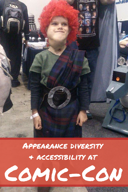 Corbin dressed up at Comic-COn. Text reads 'appearance diversity and accessibility at Comic-Con'
