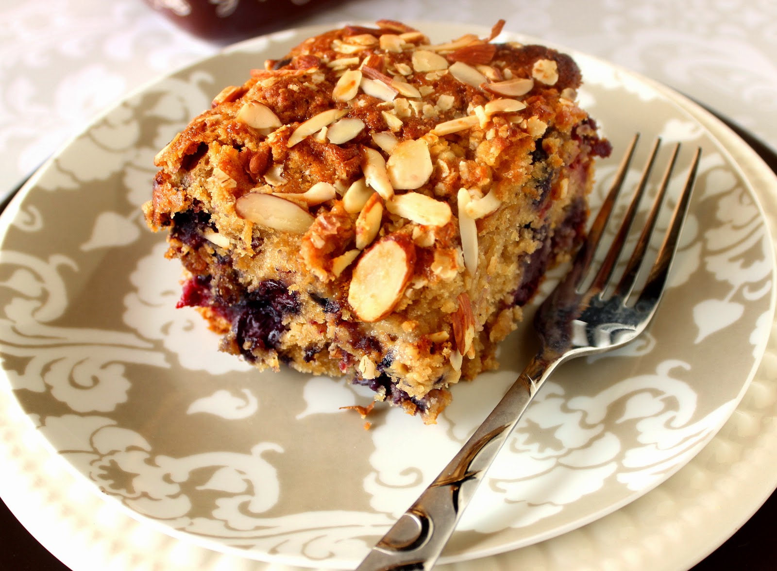 Mixed Berry Almond Oatmeal Coffeecake Recipe via Kudos Kitchen by Renee
