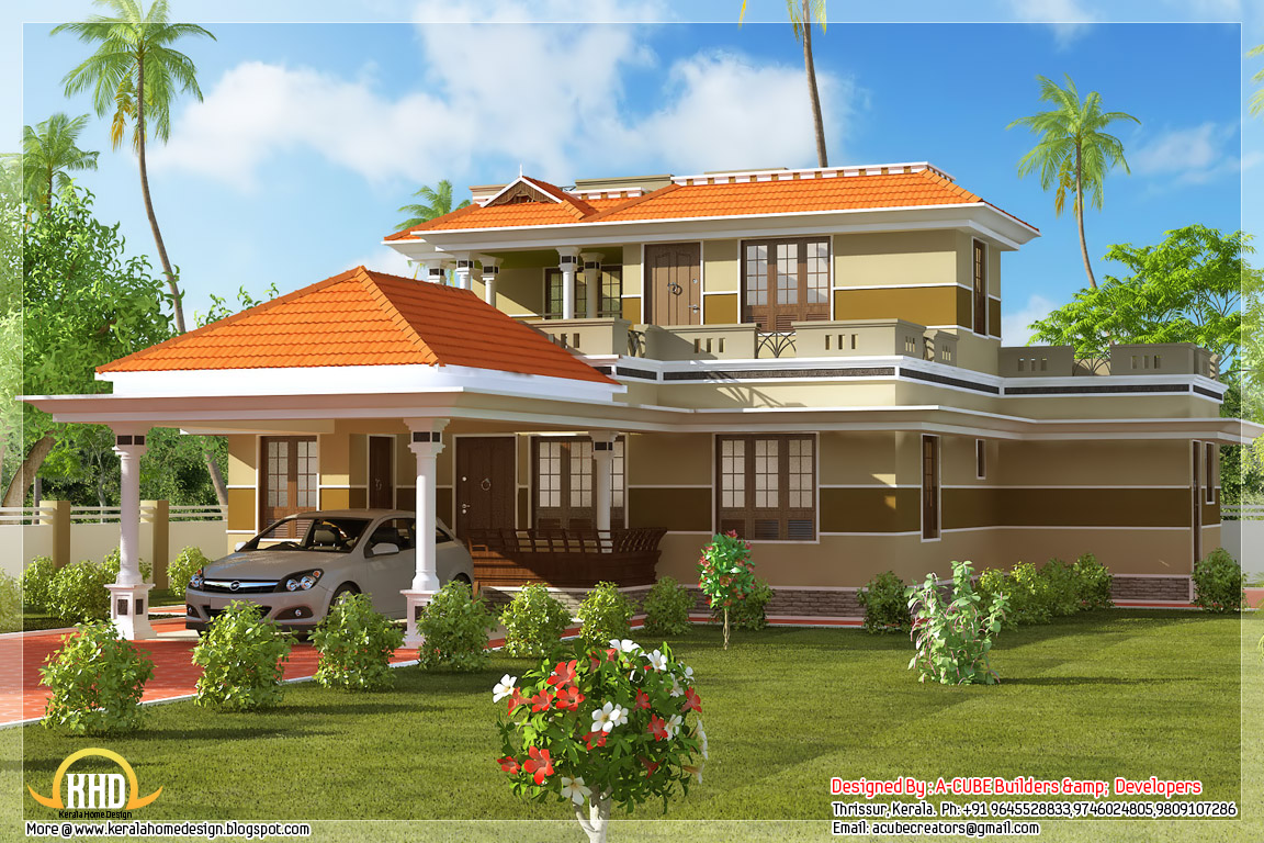 Side view of 1700 square feet 3 bhk kerala style home design