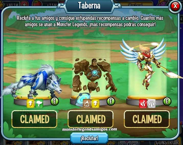 imagen de los premios de la taberna de reclutamiento de monster legends pc