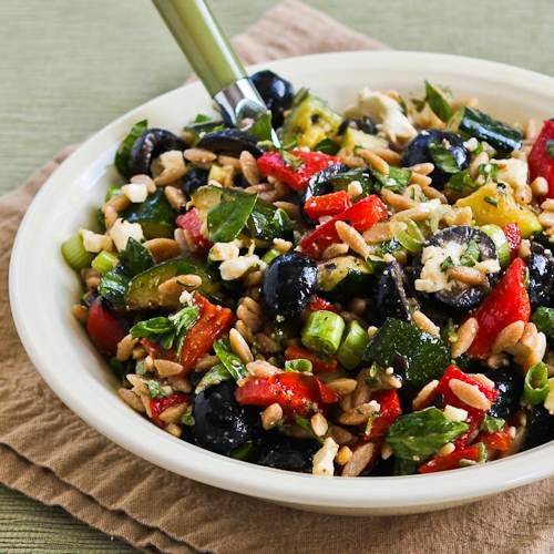 Whole Wheat Orzo and Grilled Vegetable Salad with Feta, Olives, and Herbs found on KalynKitchen.com
