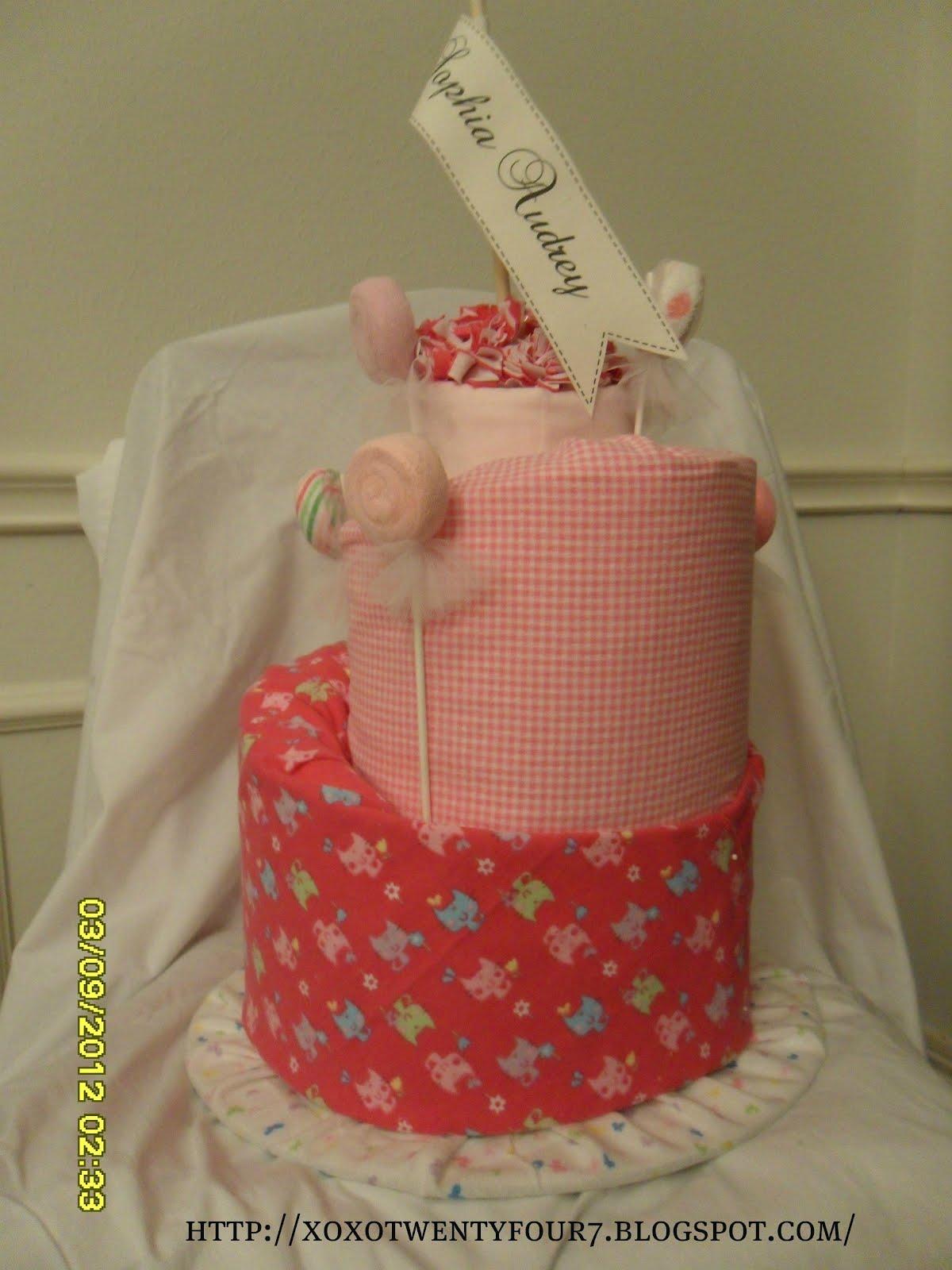 xoxo twentyfour7 topsy turvy diaper cake