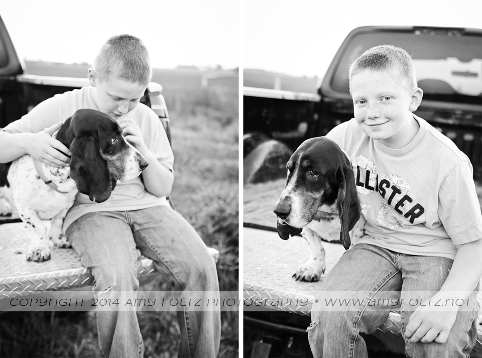 black and white photos of a boy with a basset hound - Terre Haute photographer