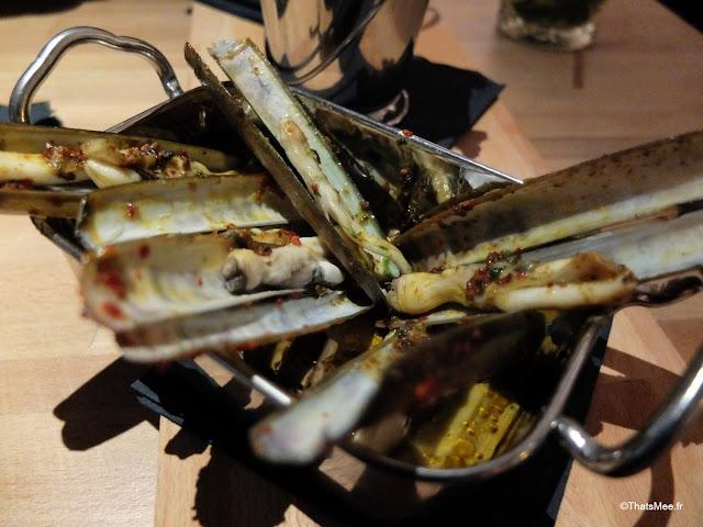 tapas fruits de mer couteaux restaurant bar La Faille montorgueil Paris