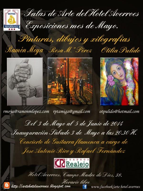 Mayo: Dibujos y grabados de Ramón Moya y pinturas de Otilia Pulido y Rosa Mª Perez.