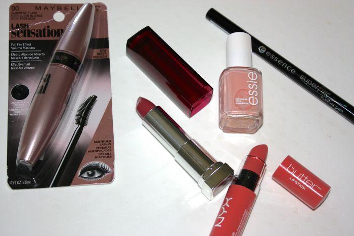 haul, essie spaghetti strap, maybelline lash sensational mascara, maybelline color sensational lipstick let me pink, nyx butter lipstick candy buttons, essence super fine liner pen