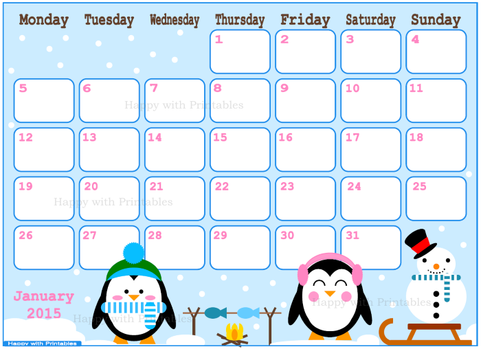 January 2015, 2015 Planner, calendar, cute calendar, Etsy Shop, Happy with printables, kawaii, printables, penguins,