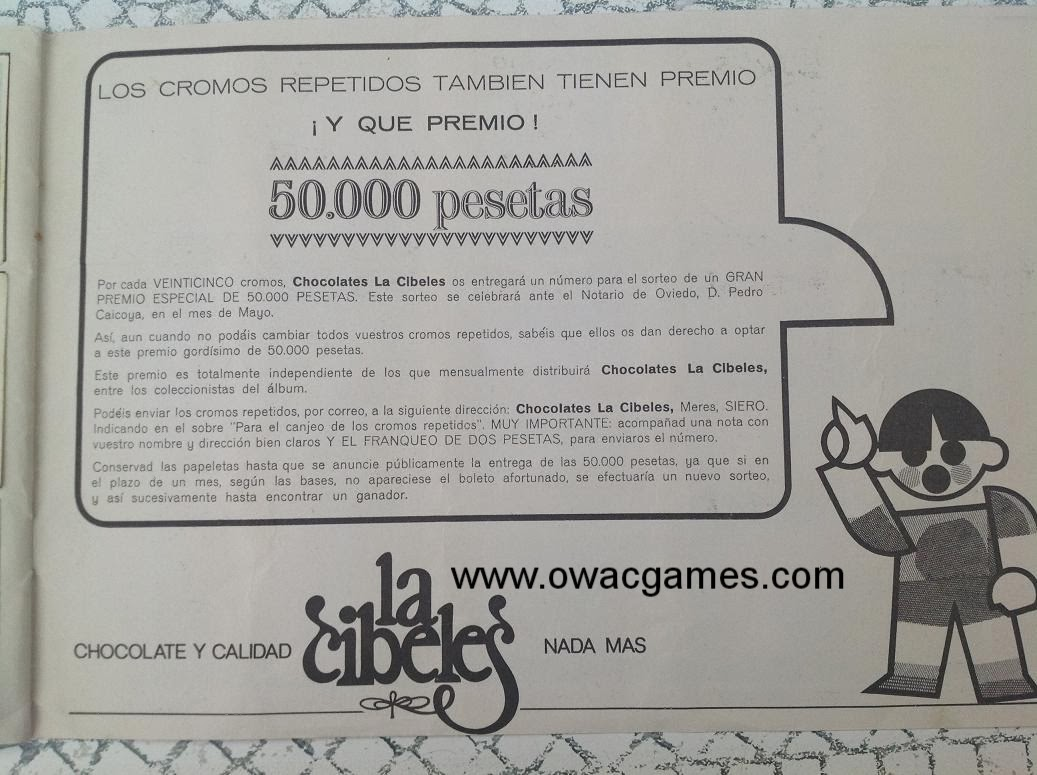 Penúltima Página 1969-70 Chocolates La Cibeles