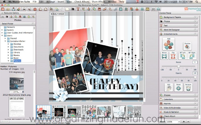My Memories software my example