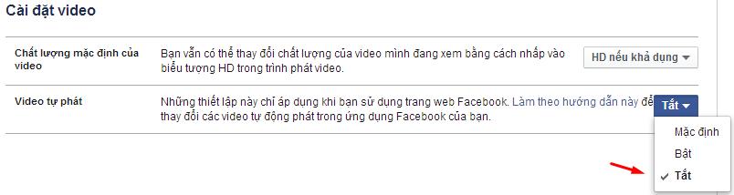 Tắt chức năng tự động phát video trên Facebook.