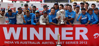 Indian team with the Border Gavaskar trophy