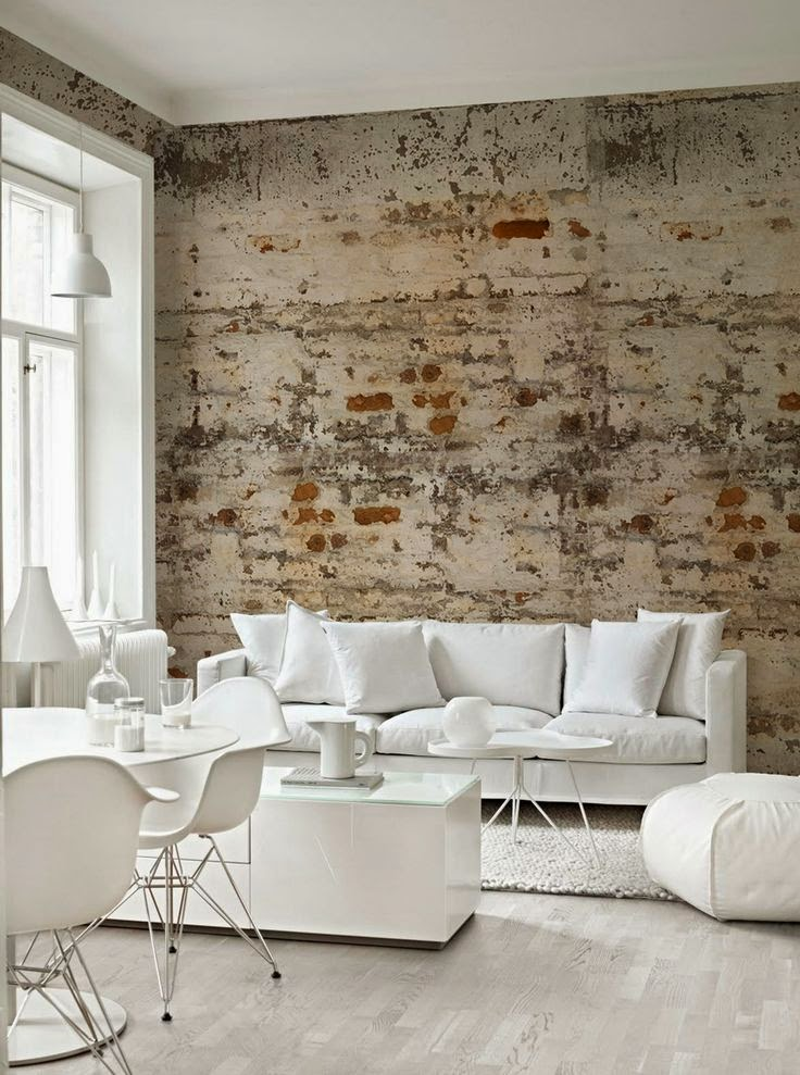 La fabrique d co d corer en blanc minimalisme lumi re et l g ret for Brick wallpaper interior design