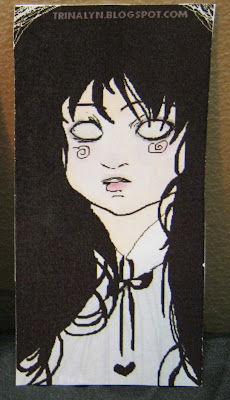 handmade original creepy girl sticker