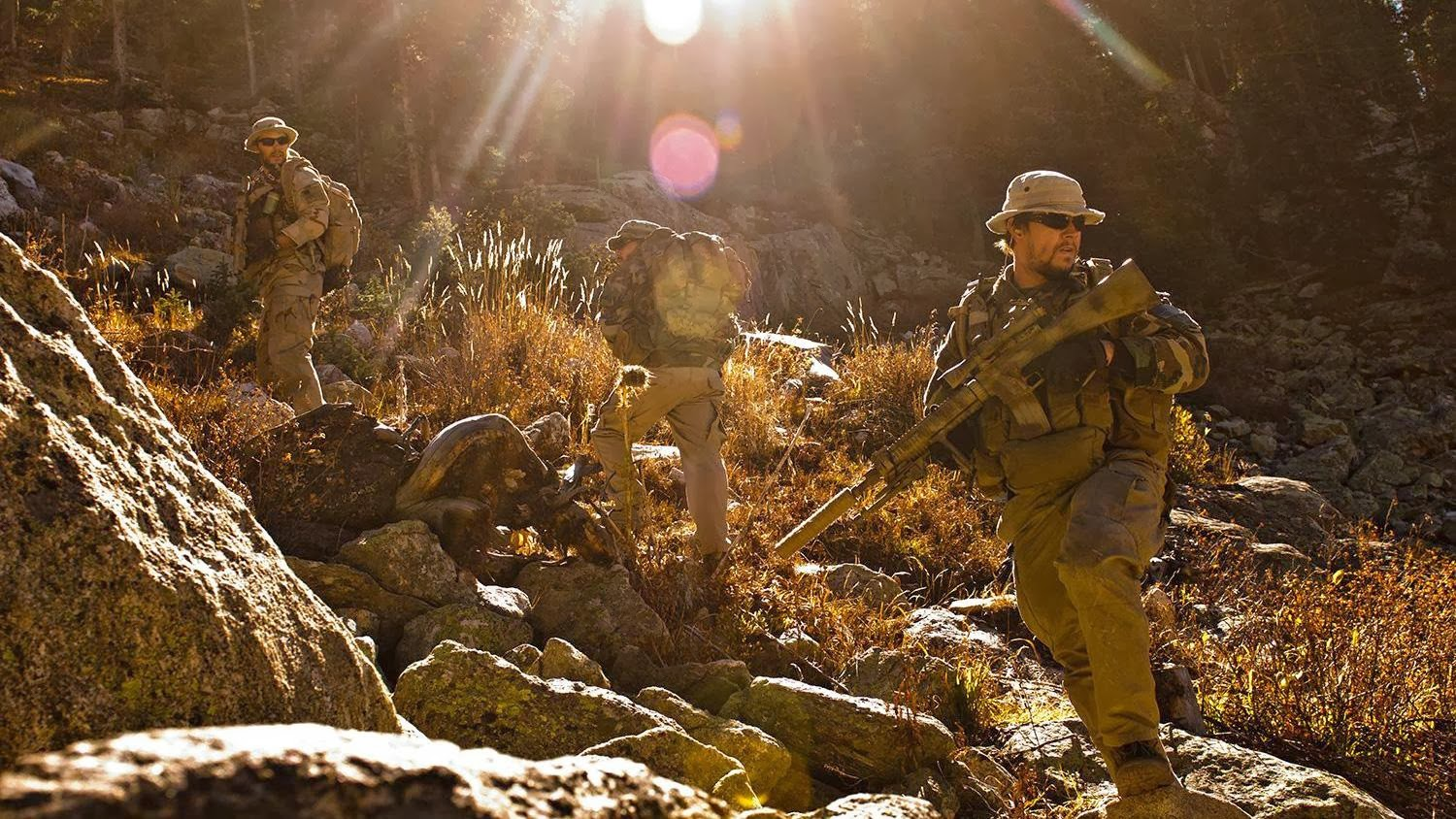 Mark Wahlberg and Emile Hirsch in Afghanistan mountains Lone Survivor