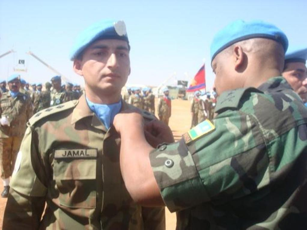 Soldier of the pakistan army's peace keeping contingent decorated with