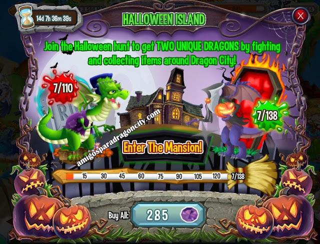 imagen del progreso de la isla de halloween de dragon city