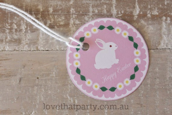 Cute Free Printable Easter Bunny Party labels by Lone That Party. www.lovethatparty.com.au