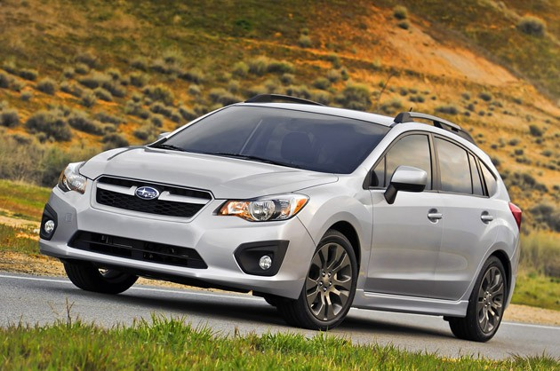 Front 3/4 view of 2012 Subaru Impreza on rural road