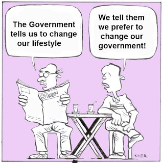 malaysia cartoon making fun at the government call for its people to change their lifestyle