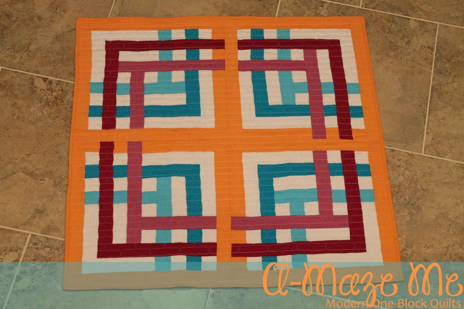 Piece n quilt a maze me a modern one block quilt for Modern house quilt block