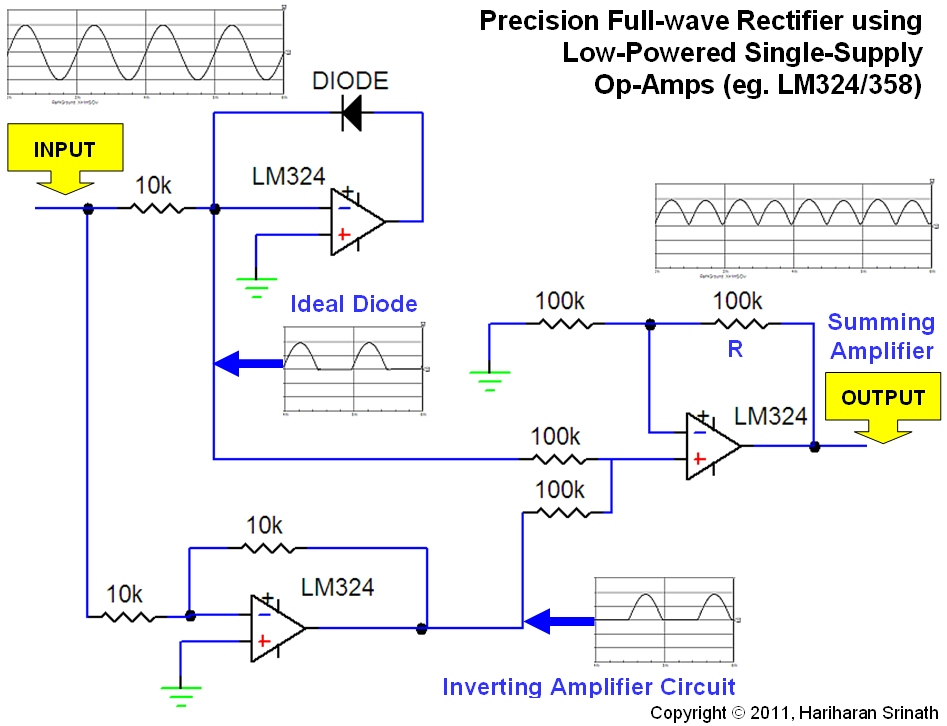 The Dabbler In Electronics Precision Full Wave Rectifier Using Low