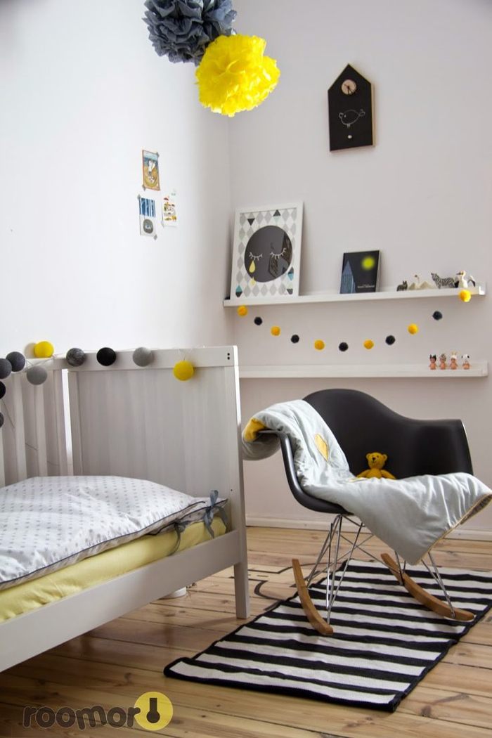 yellow accessories in kids room