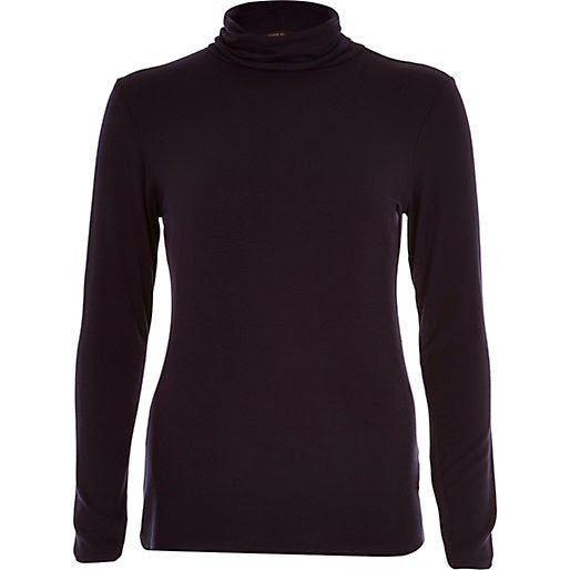 navy roll neck top, navy river island top,