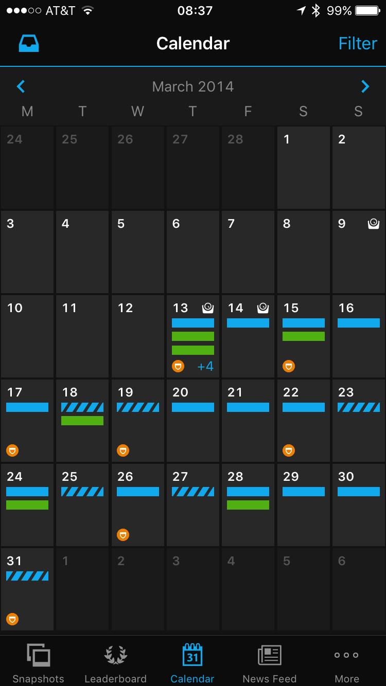 how to show activities on garmin calendar