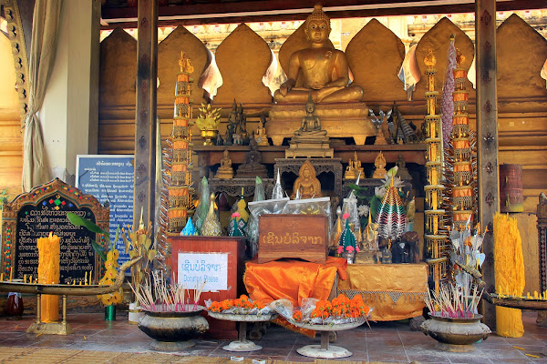 Buddhist Altar inside Pha That Luang