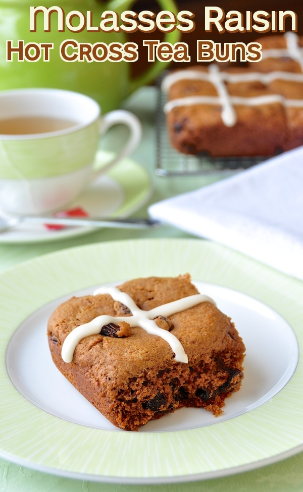 Hot Cross Molasses Raisin Tea Buns