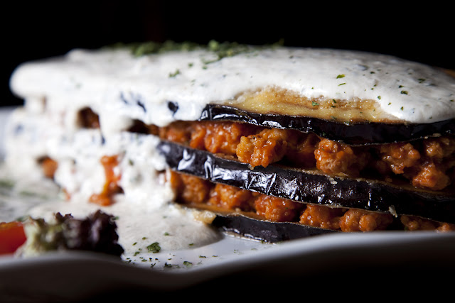 Restaurante vegetariano la olivera nueno milhojas de berenjena