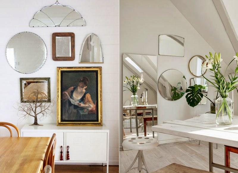 Espejos sin marco 39 vintage 39 o actuales para decorar tus for Espejos ovalados sin marco