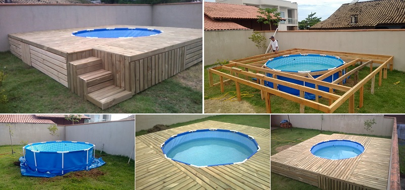 Diy spotlight check out this above ground pool with a for Building a deck for above ground pool