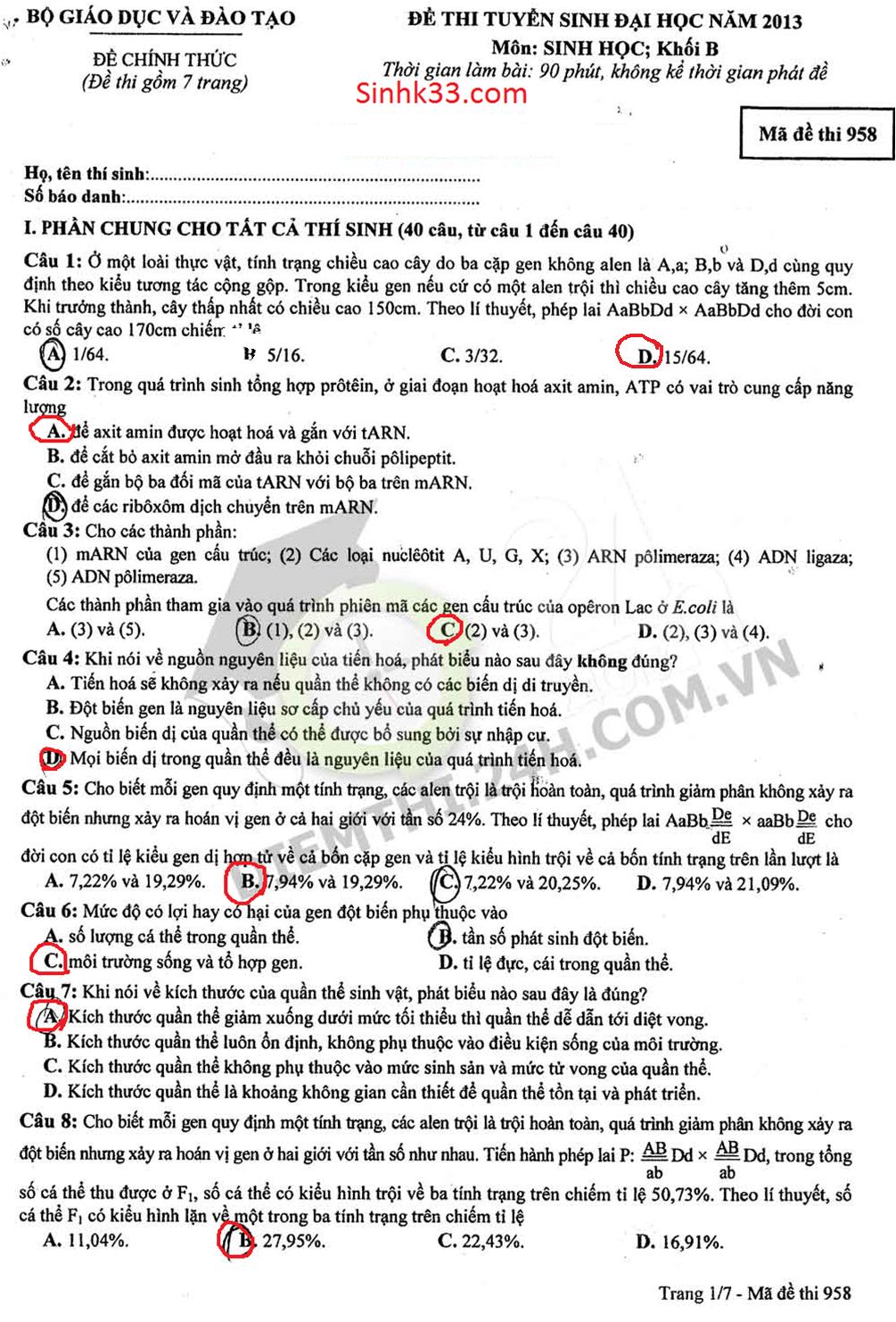 Đáp án đề thi địa học môn sinh học 2013