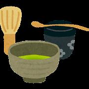 茶道の道具のイラスト「茶碗・茶筅・棗・茶杓」