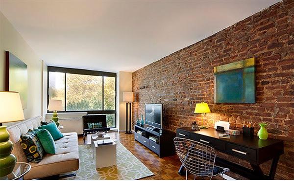 D coration salon avec des murs en briques d coration for Mur brique salon
