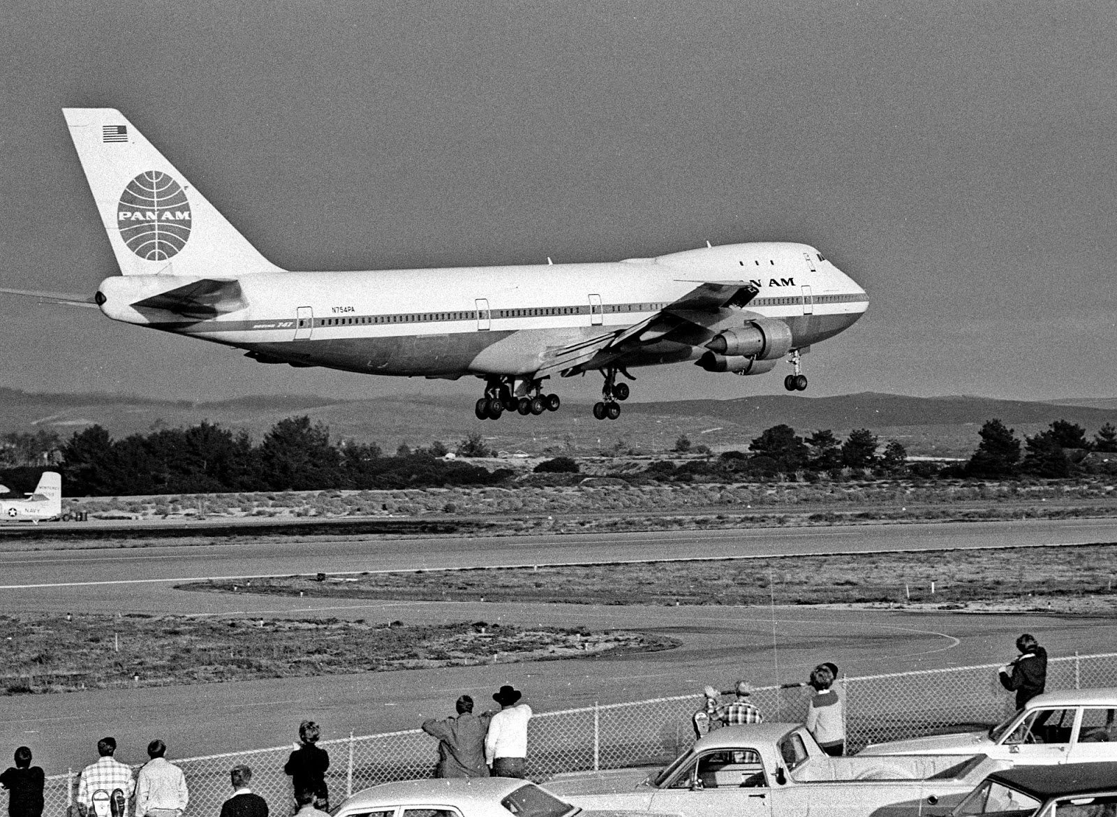 looking back at monterey county boeing 747 in monterey 1970