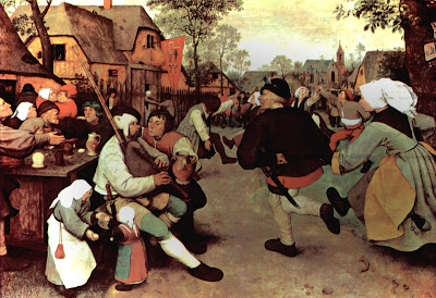 Flemish peasant renaissance clothing in The Peasant Dance by Pieter Bruegel