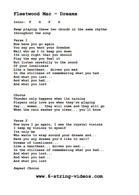 Guitar Tabs Lyrics And Chords For Dreams By Fleetwood Mac