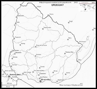 Mapa de URUGUAY, OpenStreetMap, blanco y negro