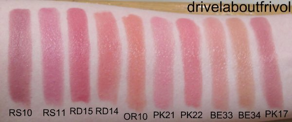 KATE Rouge High Glam swatch RS-10, RS-11, RD-15, RD-14, OR-10, PK-21, PK-22, BE-33, BE-34, PK-17