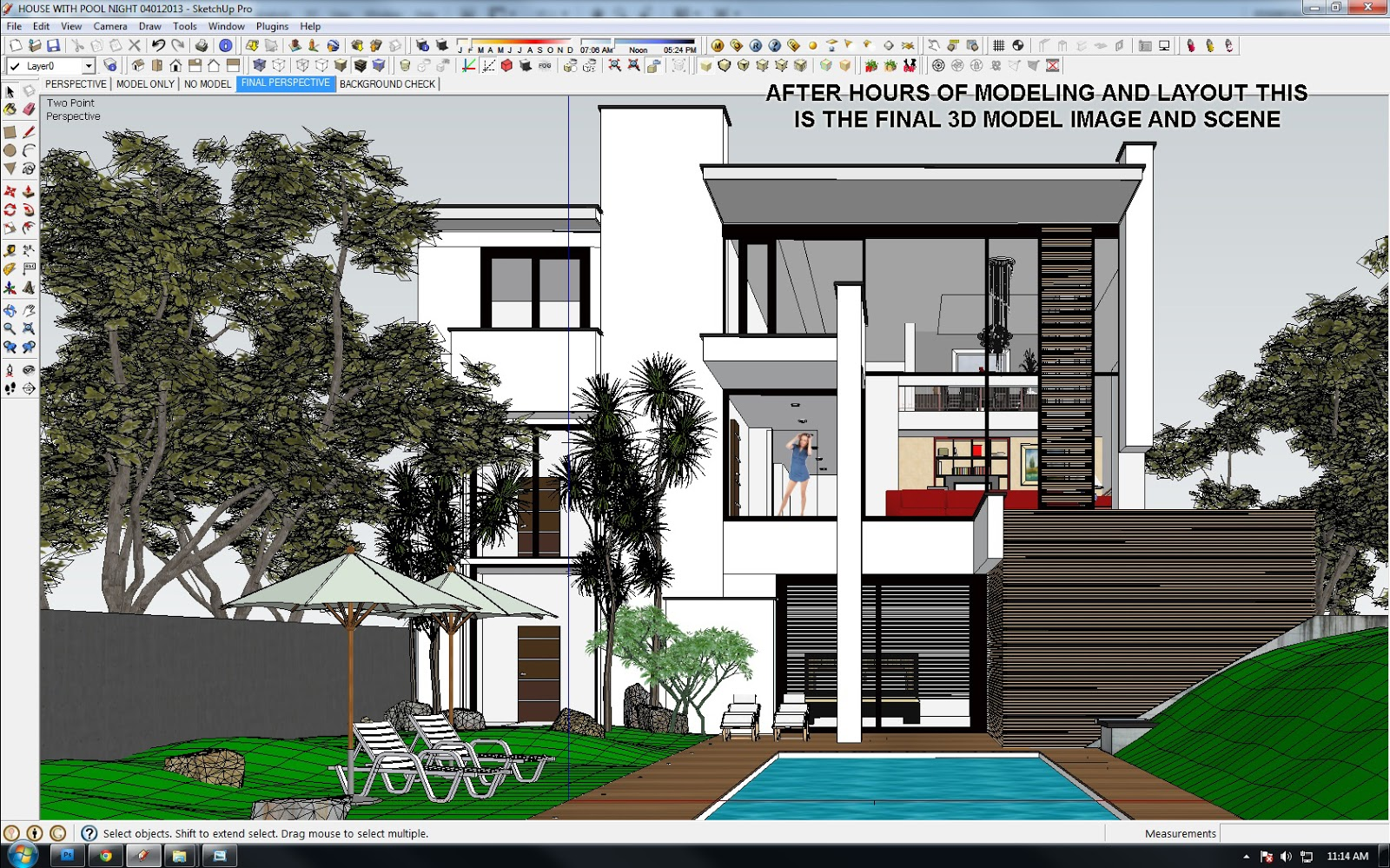 Sketchup texture vray tutorial exterior night scene 2 for Sketchup 2013