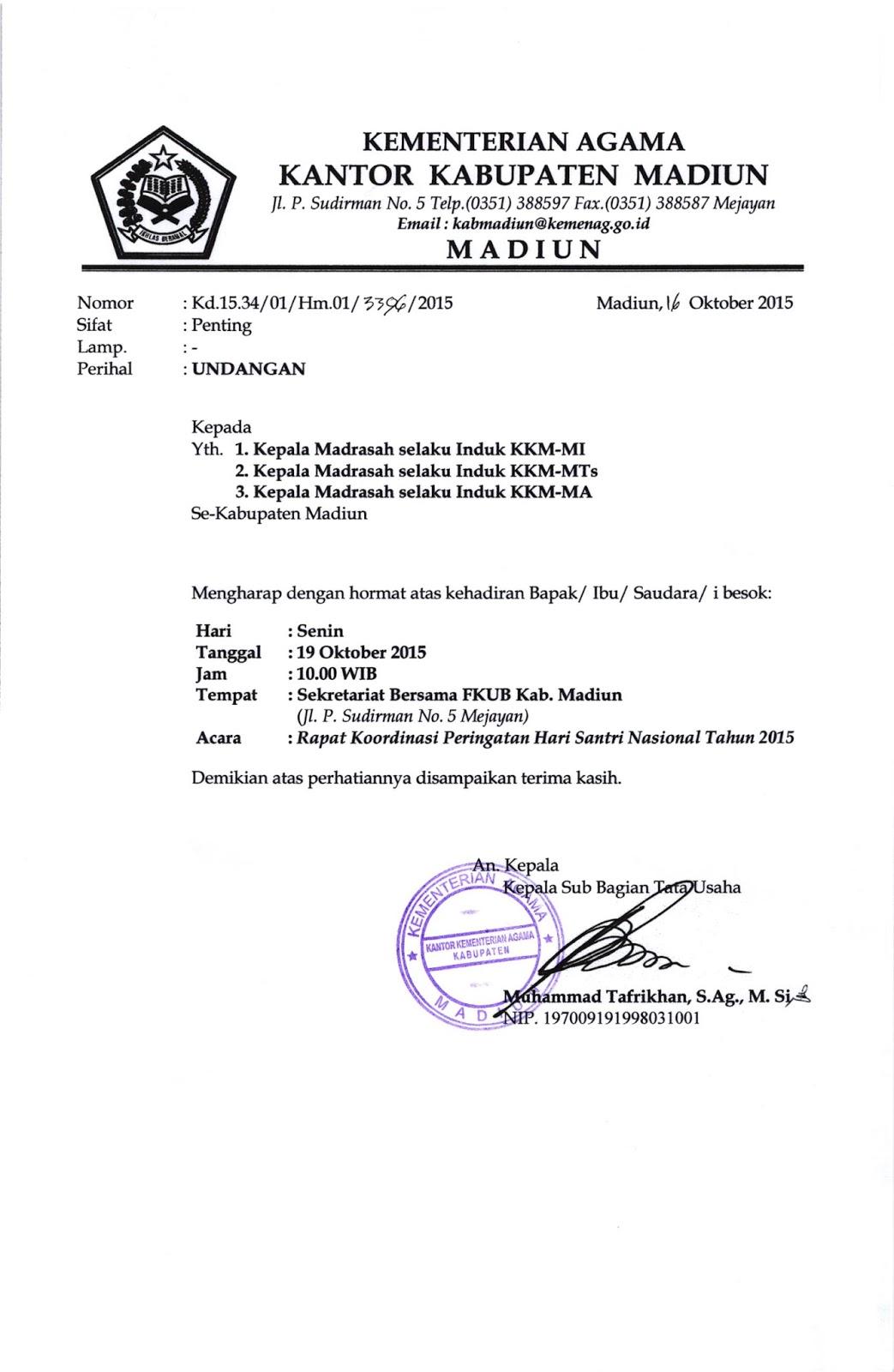 Seksi Pendidikan Madrasah Kabupaten Madiun Undangan Rapat