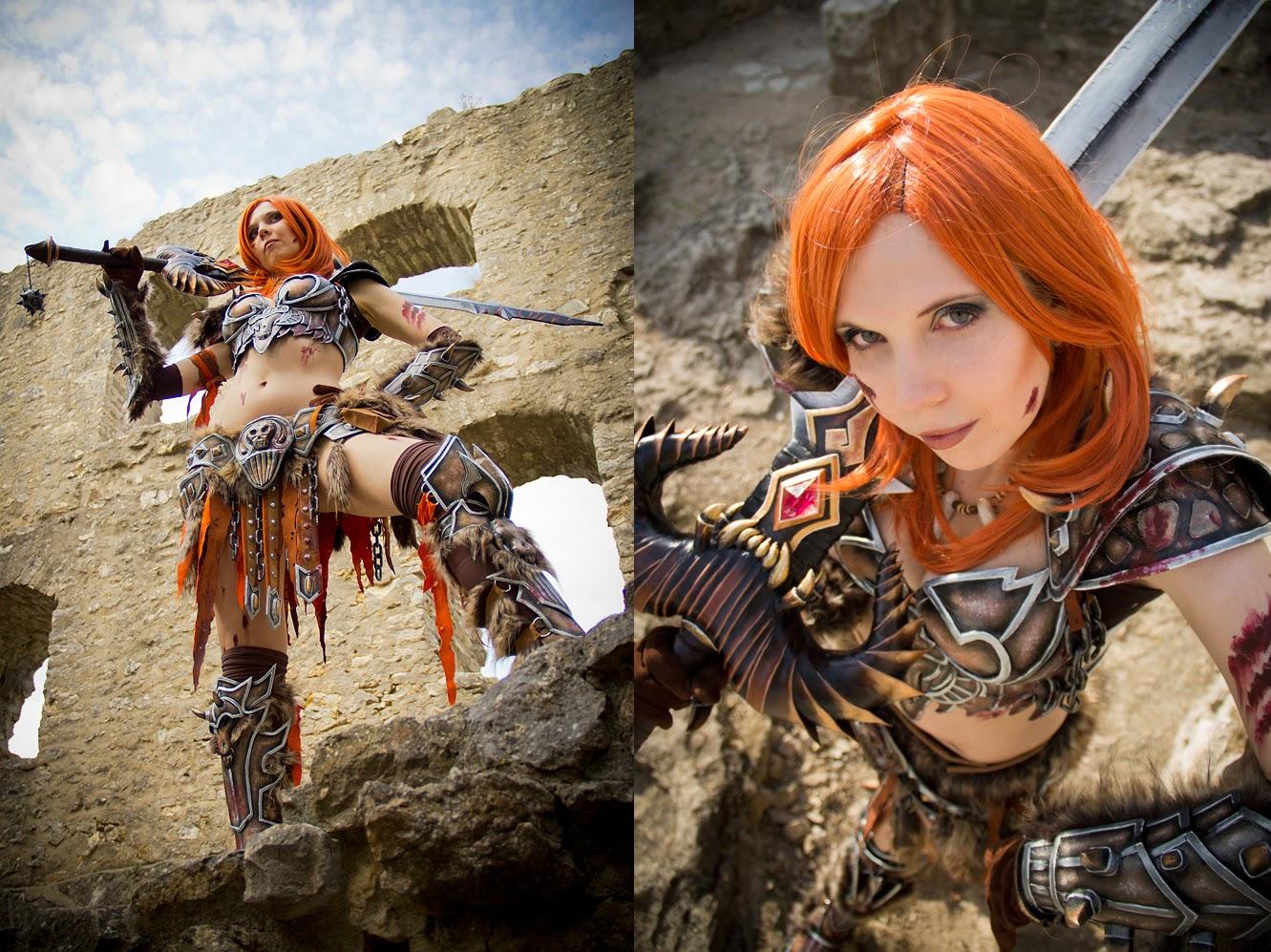 cosplay féminin très sexy d'une barbare du jeu diablo 3