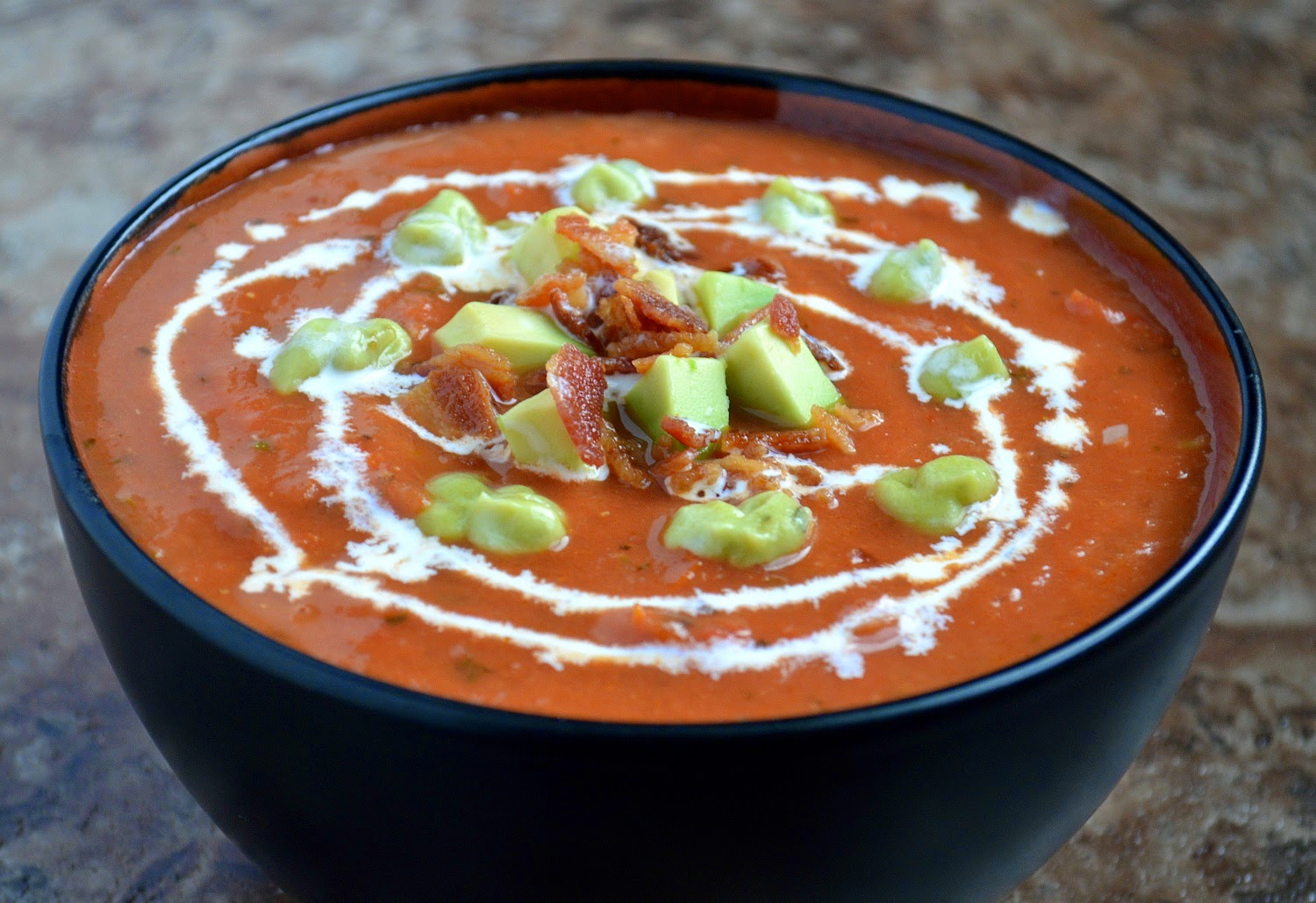Roasted Tomato Soup with Avocado Bacon and Cream