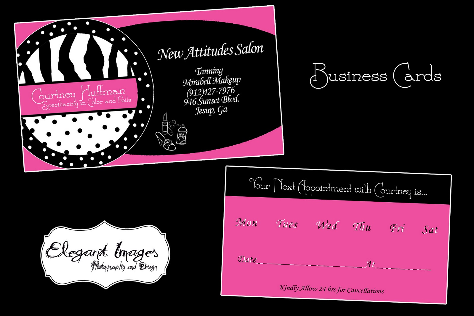 Elegant images by mandy business cards for courtney for A new attitude salon