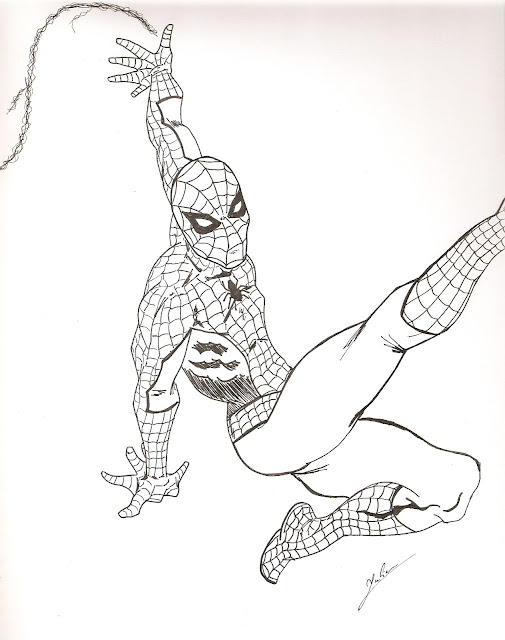Dessin encré de spiderman