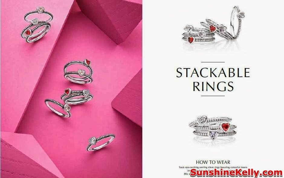 Pandora, Valentine's Collection 2014, Pandora Valentine's Collection 2014, bonds of love, charm bracelet, charms, pave charms, pink cubic zirconia stones, cubic zirconia stones, sterling silver, pandora charms, heart shaped stones, stackable rings