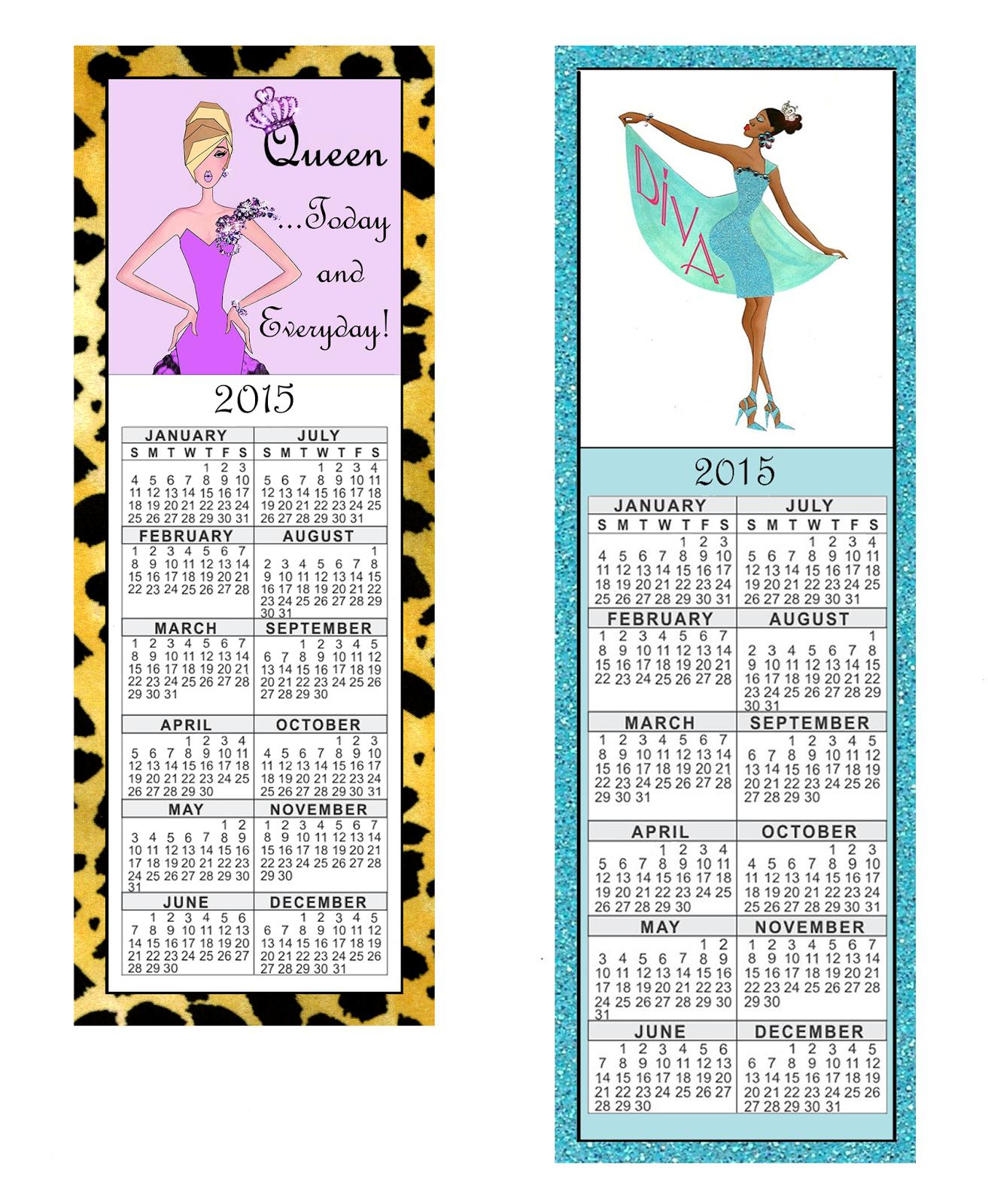 Calendar Bookmark : Ladydenise free printable diva calendar bookmarks