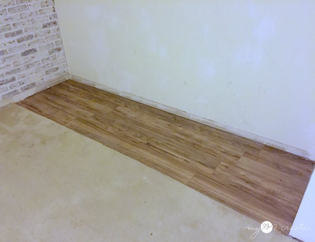 White faux brick wall one room challenge week 3 my love for Faux laminate flooring
